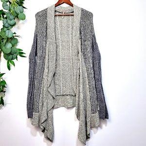 Free People Gray  Asymmetrical Knit Cardigan